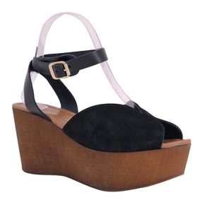 Seychelles Black Ankle Wrap Platform Wedge Sandals
